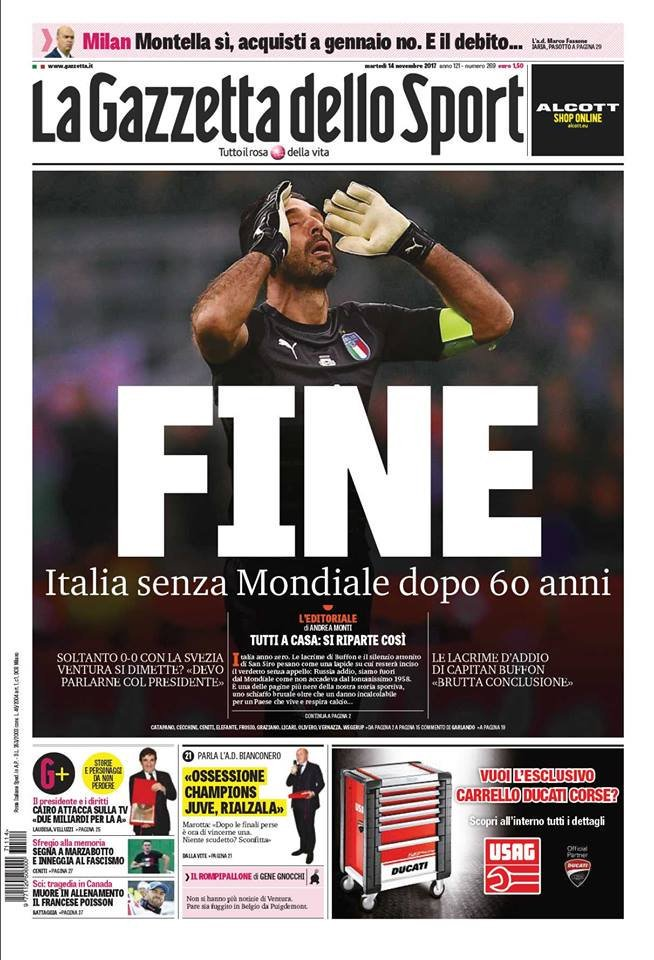 Gazetta Headline Italy Failed to Qualify