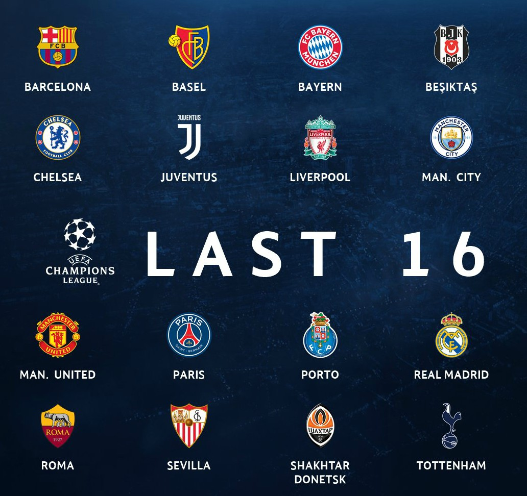 Champions League Round of 16 Qualified