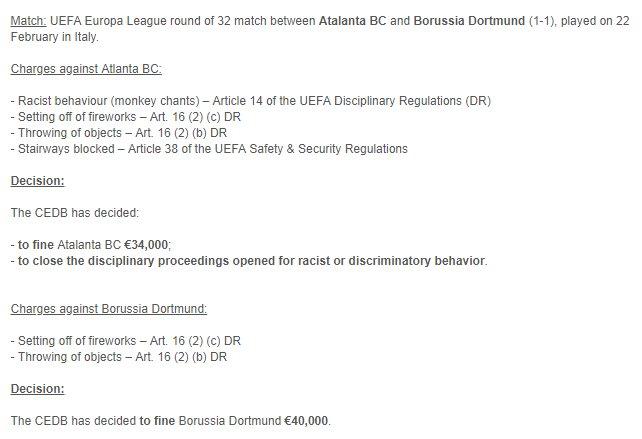 Dortmund Atalanta Fines UEFA
