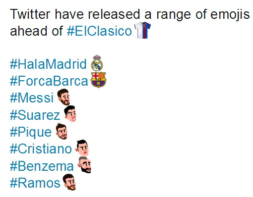 Twitter Emojis 2017 Soccer El Clasico