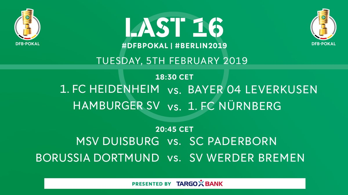 DFB Pokal Round of 16 Draw