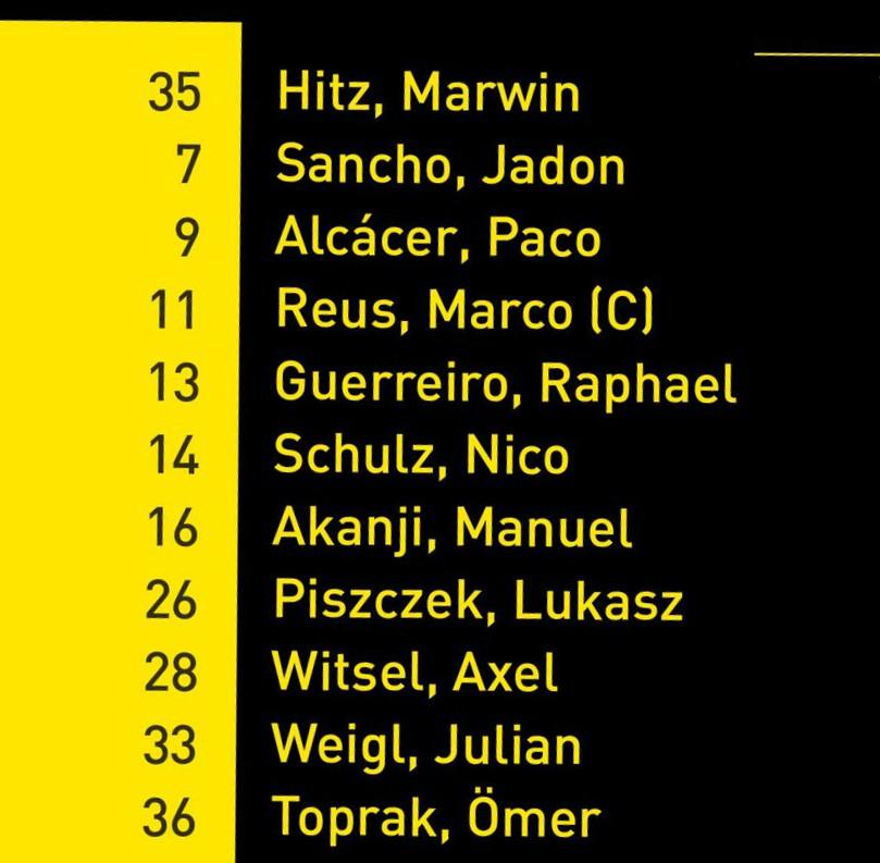 BVB starting lineup
