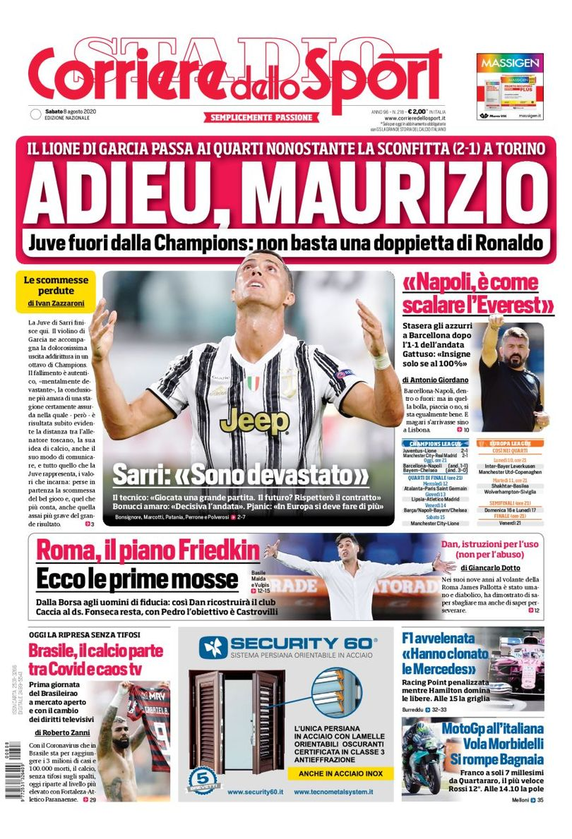 Corriere dello Sport Headline Juventus 2-1 Lyon