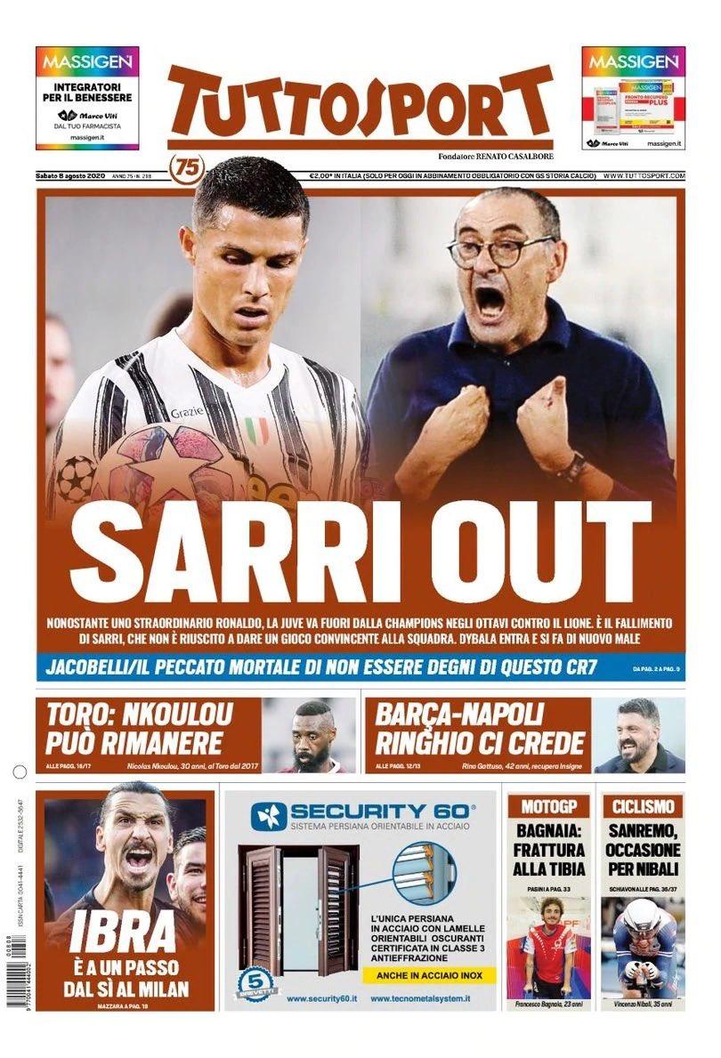 Tuttosport Headline Juventus Lyon CL